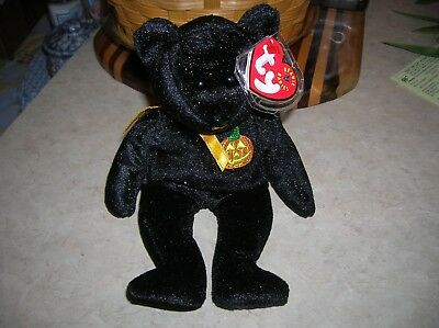 Cute TY beanie baby stuffed Halloween bear Haunt black with a pumpkin patch  UGC
