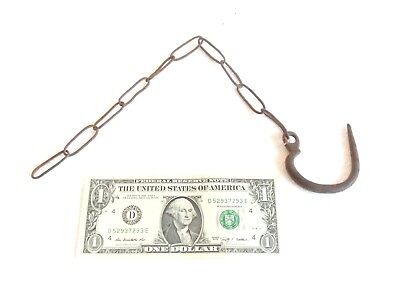 ANTIQUE Wrought Iron Chain w/ Hook Blacksmith Made > PRIMITIVE Rustic Farm Tool