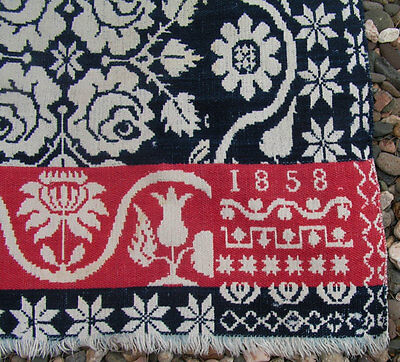 Antique Wool Jacquard Coverlet Vintage Woven Throw Overshot Coverlet Dated 1858