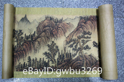 Marks Rare Old Chinese Very Long Scroll Painting landscape  theme Map