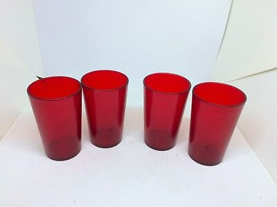 Lot of 4 Continental Carlisle Glasses/Tumblers 8 oz Red Plastic Cup Model 5109