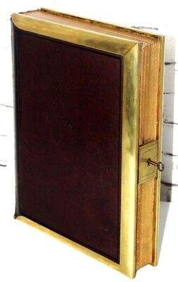Antique Victorian Brass Leather Bound Photo Album with 46 Photos C1880s [PL4111]