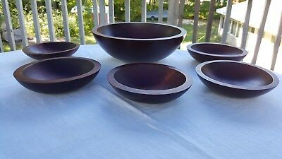 Vintage Teak Wooden Bowl Set Baribocraft Eames Era Mid Century Modern Salad 6 Pc