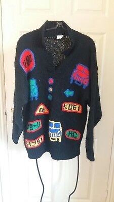 vintage retro car traffic design jumper top sweater knit kitsch wacky 80s 90s