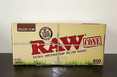 RAW Organic 1 1/4 Size Pre-Rolled Cones with Filter~900 Pack~Fast Free Shipping