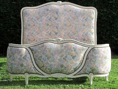 French Painted and Carved Upholstered Corbeille Standard Double Bed Pine Base