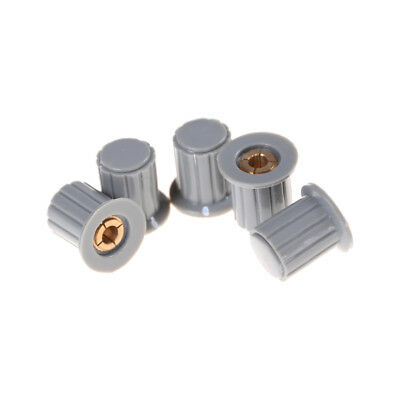 5Pcs Ribbed Grip 4mm Split Shaft Potentiometer Control Knobs Grey CH