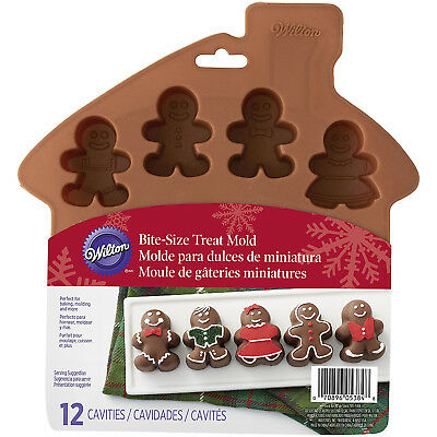 Wilton 12 Cavity Silicone Gingerbread Family Bite Size Christmas Bake Treat Mold