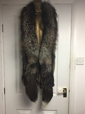 Vintage Genuine Fox Fur Extra Large Long Scarf Stole With Bushy Tail