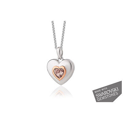 "Official Clogau Welsh Silver & Rose Gold Heart Pendant (18"") RRP £199"