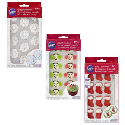 Wilton 12pc Edible Christmas Ready Made Royal Icing Cake Cupcake Decoration