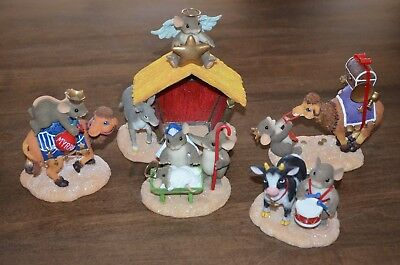 Fitz Floyd Charming Tails 5 Pc Christmas Nativity Manger Holy Family 3 Kings
