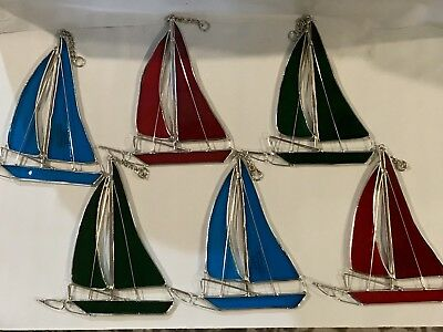 6-Piece Set Stained Glass 6 inch Sailboats Sun Catchers  [9046-1]