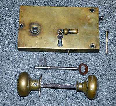 Victorian Rim Double Throw Bolt sash-lock Brass ORIGINAL and with knobs