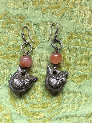 Very Rare Vintage/antique Chinese Silver Alloy / Carnelian Amulet Earrings