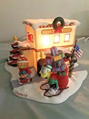"Christmas Garfield Collectibles""christmas Village""""the Post Office"" Danbury Mint"