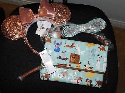 Sold out Disney Dogs Dooney & Bourke foldover crossbody & Rose Gold ears bundle