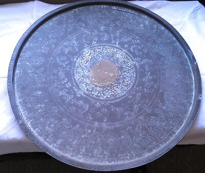 Large Antique Engraved Metal Tray Persian Indian 59 cm