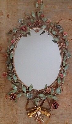 Fabulous Italian Tole Large Vintage Mirror With Roses Leaves Hollywood Regency