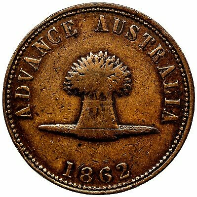AUSTRALIA: copper penny token, 1862