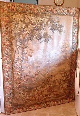 Antique Vintage Large Tapestry 17th Century French Style Country Landscape Deer