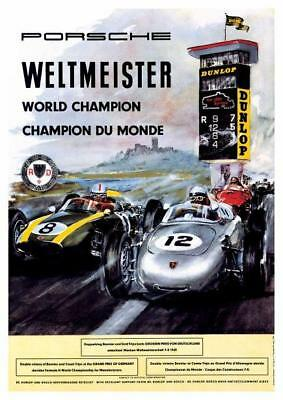 Porsche *POSTER* 1960 Weltmeister Race Car Image FRENCH GERMAN - BEAUTIFUL PRINT