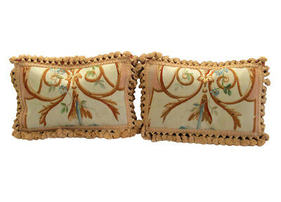 Pair of Antique French Aubusson Tapestry Pillow Covers