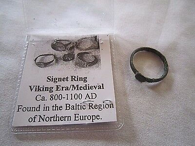 800 - 1100 AD Medieval BALTIC SIGNET RING size 6 1/2 *