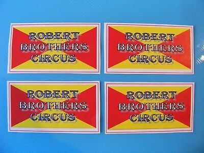 ROBERT BROTHERS CIRCUS 80 x 40 mm STICKERS (x 4)
