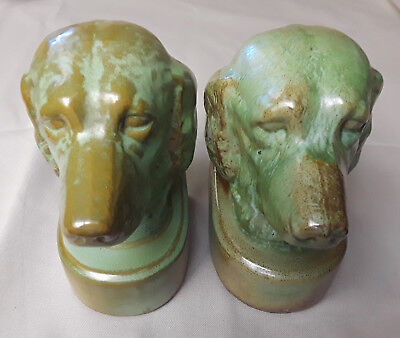 "Frankoma Pottery #430 Irish Setter Bookends - 6 1/2 "" Tall - Prairie Green"