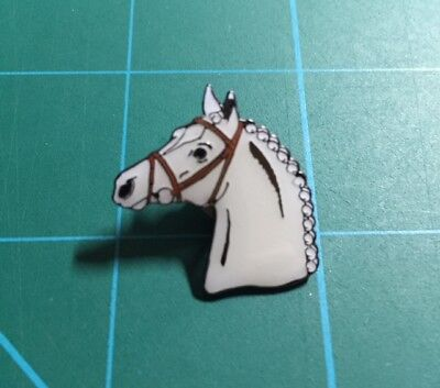 Horse Head Lapel Pin - White