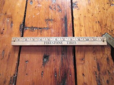 Vintage Wooden Ruler, Yardstick Firestone Tires Advertising Speedway
