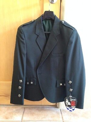 Kilt Jacket-Geoffrey Highland Crafts-Size 44S-Bottle Green Bara-NEW