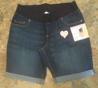 GREAT EXPECTATIONS Maternity Denim Bermuda Shorts XL 16-18 NEW WITH TAGS Band
