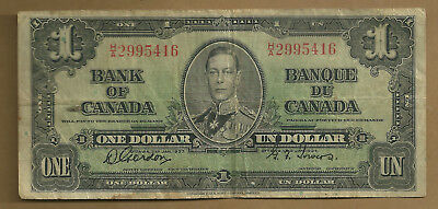 1937 BANK OF CANADA ONE DOLLAR GORDON TOWERS   NARROW PANEL H/A signature shift