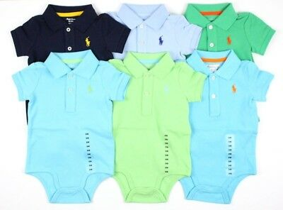Baby Boys Polo Ralph Lauren Polo Shirt Bodysuit Romper Baby Grow 9m 9 Months