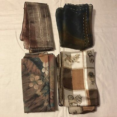 4 Scarves Oblong Dogs Harvest Peach Cantaloupe Sheer Brown Tan Vintage Scarf Lot