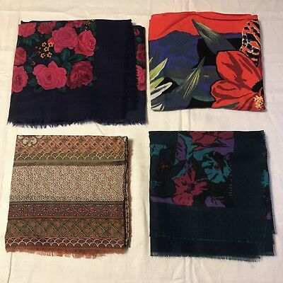 4 Scarves Huge Square Wool Echo Rayon Hibiscus Floral Bright Vtg Navy Scarf Lot