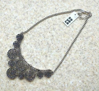 NEW Romolo Emerette Filigree Collar Necklace Antique Silver plated lace Chain