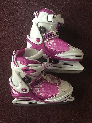 Girls' ice skates, pink and white, adjustable size 35 to 38 (UK 2 to 5)