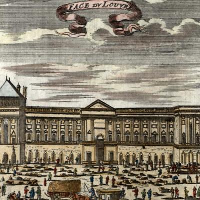 France Louvre Museum old print 1719 hand color active scene people Royal Palace