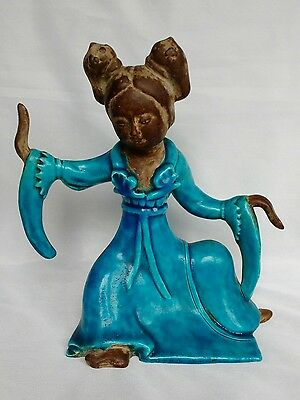 Rare Italian Zaccagnini pottery Chinese Tang style lady Mid century modern