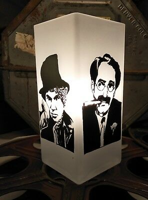 Marx Bros Hand Painted Pop Art Silhouette Glass Table Lamp Unique One Of A Kind