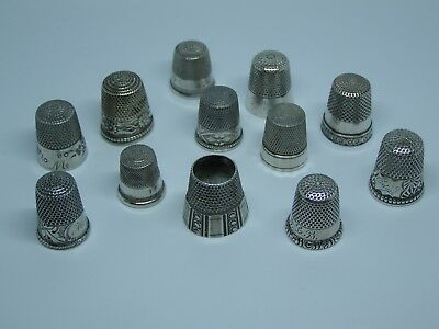 Antique Vintage Sterling Silver Sewing Thimbles Some Signed Lot Of 12