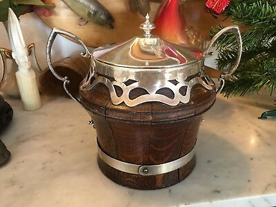 Antique Tiger Oak Bat Eared Silver EPNS Porcelain Biscuit Tobacco Jar Tea Caddy