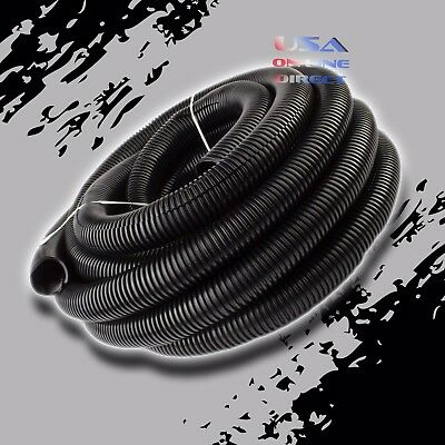 "25ft. 3/4"" Conduit Car Home Boat Tubing Split Wire Loom Black Color Sleeve Tube"