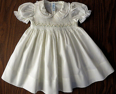 Vintage Pale Yellow Smocked Feltmon Bros. Baby Dress