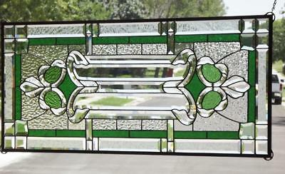 "•GO GREEN • 42 5/8""x18 3/8""(108x48 cm)• Beveled Stained Glass Window Panel •"