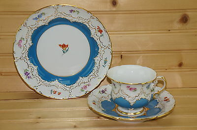 "Antique Meissen  Blue & Gold 3-Piece Set-Cup 3"" & Saucer 6 5/8"" & Salad 7 7/8"""