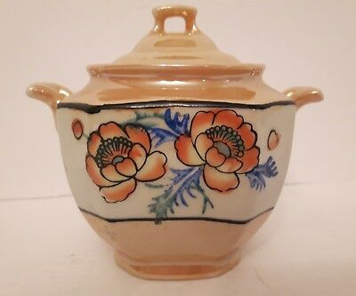 Vintage Lusterware Tea caddy sugar dish canister beautiful condition no markings